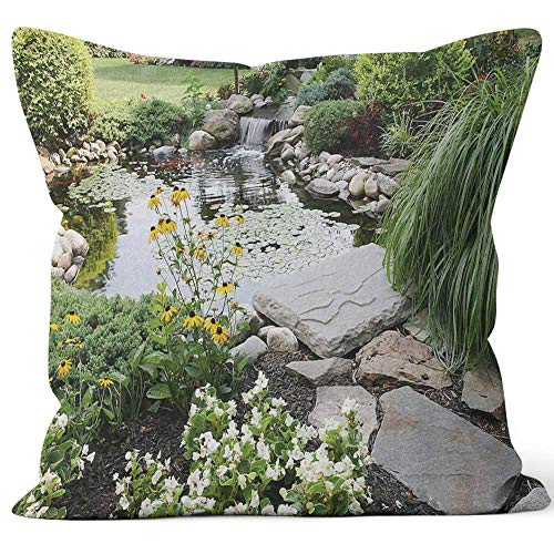 Nine City Backyard Pond and Waterfall Throw Pillow Cushion CoverHD Printing Decorative Square Accent Pillow Case36 W by 36 L