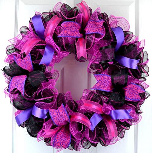 Black Pink Mesh Door Wreath  Everyday Front Door Outdoor Wreath  Black Hot Fuchsia Pink Purple