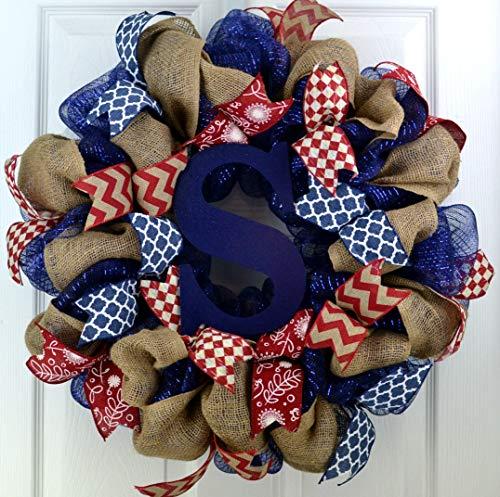 Burlap Monogram Mesh Door Wreath navy blue red white