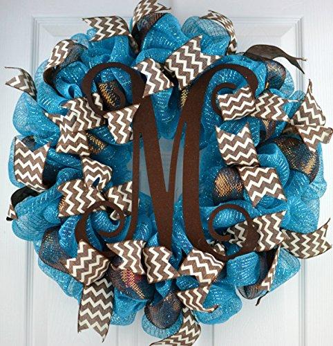 Dark Turquoise Vine Monogram Mesh Door Wreath - LOTS OF COLORS