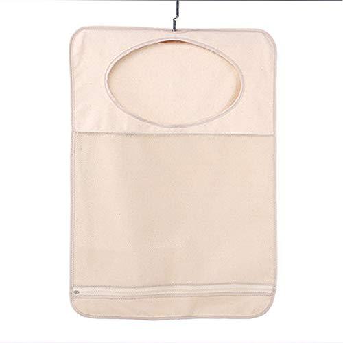 Door-Hanging Laundry HamperCotton Hanging Mesh Bag Space Saving Dirty Clothes Bag Easy Zipper Release Beige -