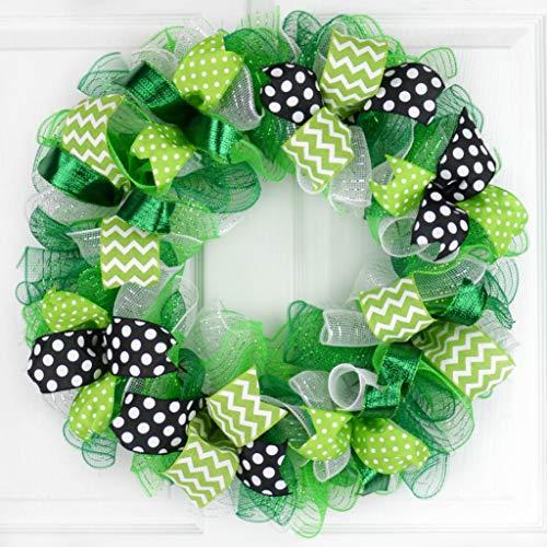 St Patricks Wreath - Saint Patricks Day Mesh Door Wreath - Lime Green White Black