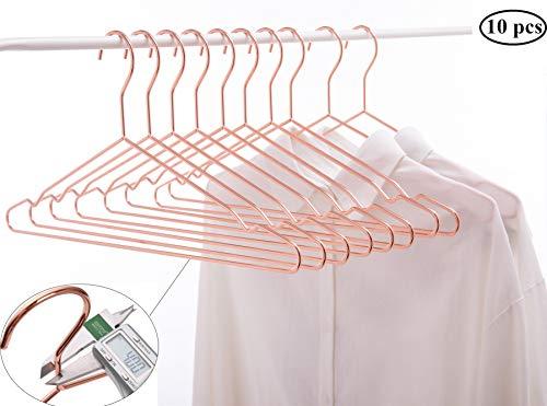 Cocomaya 17 Inch Heavy Duty Rose Gold Copper Metal Clothes Hanger Coat Hanger Suit Hanger Dress Hanger with Big Notches Pack of 10 Rose Gold 10