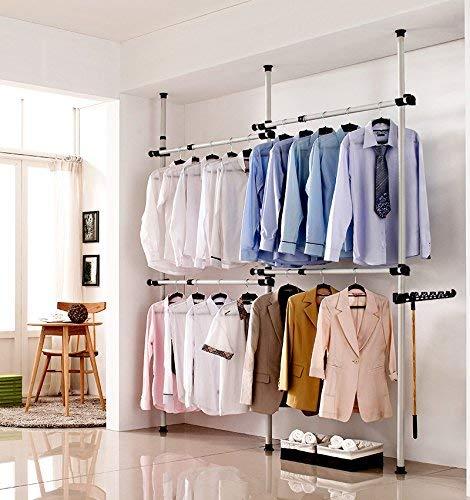 Portable Garment Rack Adjustable Heavy Duty DIY Clothes Wardrobe Clothing Rack Metal Clothes Closet Storage Origanizer for Clothes Jacket Shirt Long Dress 3 Poles 4 Bars