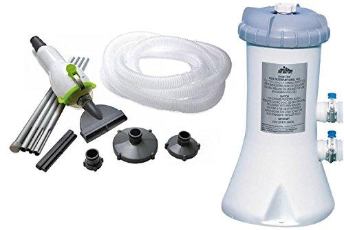 Intex 530 GPH Easy Set Swimming Pool Filter Pump Skooba Vac Vacuum Combo