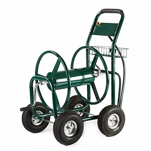 US Stock Kissemoj Green Heavy Duty Water Hose Reel Cart 300 FT Outdoor Garden Yard with Basket