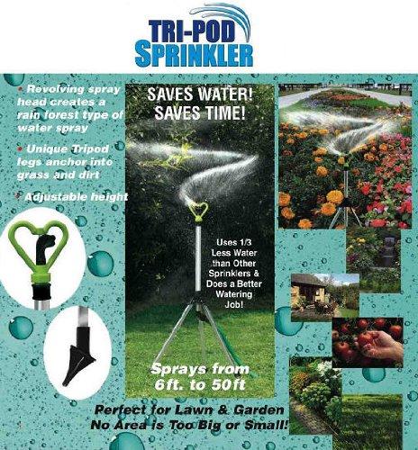 Revolving Tripod Sprinkler for Lawn Garden Adjustable 20 to 1900 Square Feet