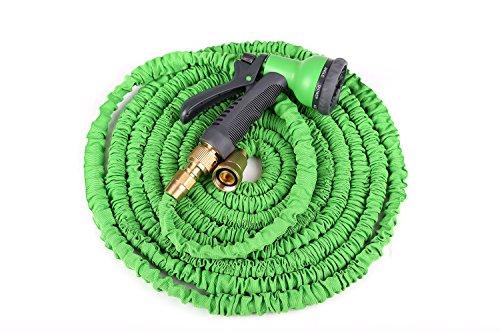 Tech-plus Super Lightweight Expanding Garden Hose8 Functions Spray Garden Hose Nozzle no Kink Yard Hose Hideaway