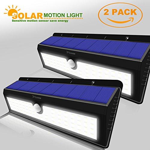 Solar Power Sensor Wall Light Costech 62 LED Ultra Bright Wireless Security Rainproof Motion Weatherproof Outdoor Lamp for Patio Deck Yard Garden HomeDriveway 2 Pack