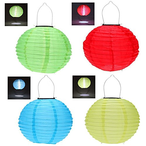 Hrph 4pcs 30CM12inches Waterproof Solar Lantern Solar Outdoor Hanging Lights LED Holiday Lights Hanging Lantern Chinese Celebration