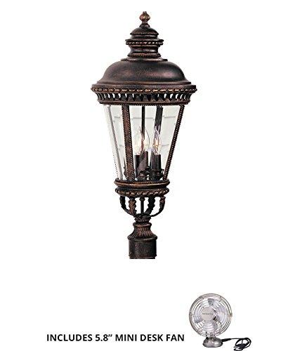 Feiss OL1907GBZ Castle Cast Aluminum Outdoor Post Lighting 180watt Bronze Includes Mini Desk Fan