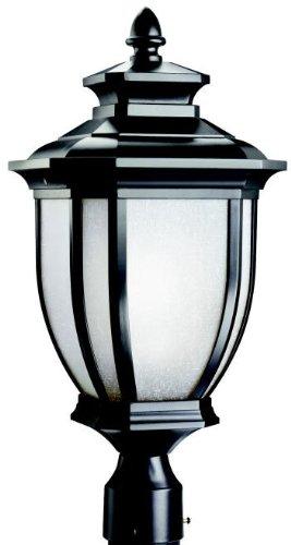 Kichler Lighting 9938BK Salisbury 1-Light Outdoor Post Fixture Black with White Linen Glass