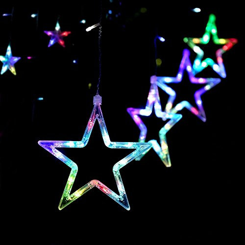 Blinngo LED Star Curtain Lights Waterproof 138 LED 12 Stars Window Icicle String Lights for Wall Bedroom Wedding Party Holiday Indoor Outdoor Decorations Multi-color