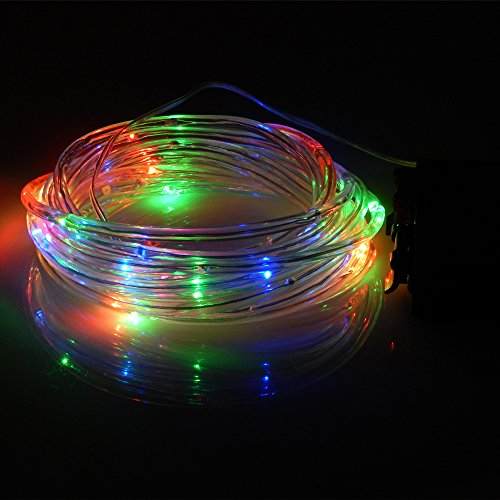 ER CHEN Solid Tube Led Fairy String Lights- 164Ft 50 Leds Battery Operated Waterproof String Rope Lights With Timer for Christmas Party Wedding Holidays Indoor and Outdoor DecorateRGB