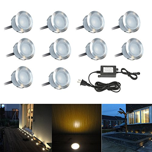 FVTLED 10 Pack Low Voltage LED Deck Light Kit Waterproof Outdoor LED Step Lighting Recessed Decking Garden Mall Yard Patio Decor Landscape Stair Lamps with Transformer Warm White