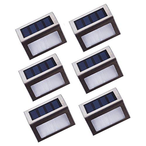 Lightess Solar Step Stair Lights For Outdoor Garden 2 Leds Stainless Steel Pack Of 6