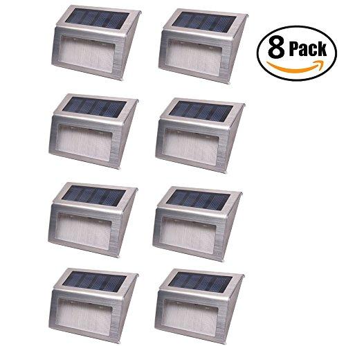 Solar Lightsfunjia 8 Pack Led Solar Powered Stainless Steel Step Lightoutdoor Solar Wall Lamp Illuminates Patio
