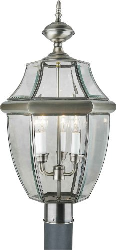Forte Lighting 1604-03-34 Outdoor Post Fixture With Clear Beveled Glass Shades Antique Pewter