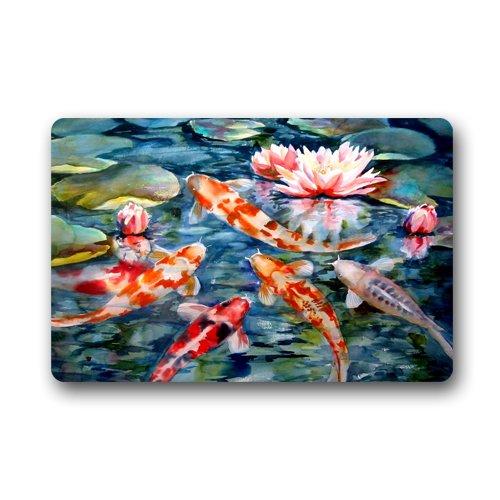 Water Lily Koi Fish Pond Custom Door Mats Indoor Outdoor House Doormat