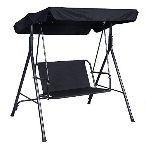Black Outdoor Patio Swing Canopy Awning Yard Furniture Hammock Steel 2 Person
