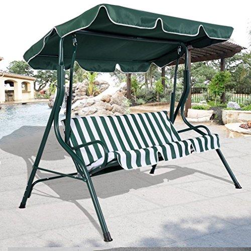 Fashion Green Outdoor Patio Swing Canopy 3 Person Awning Yard Furniture Hammock Steel
