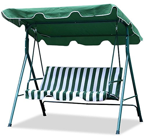 Yaheetech Green Patio Outdoor Swing Canopy With Weather Resistant Seat 3 Seats