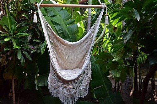 Hanging Hammock Chair Handmade Hanging Chair Cotton Rope Porch Swing Seat With Wood Stretcher Bar Organic Handmade