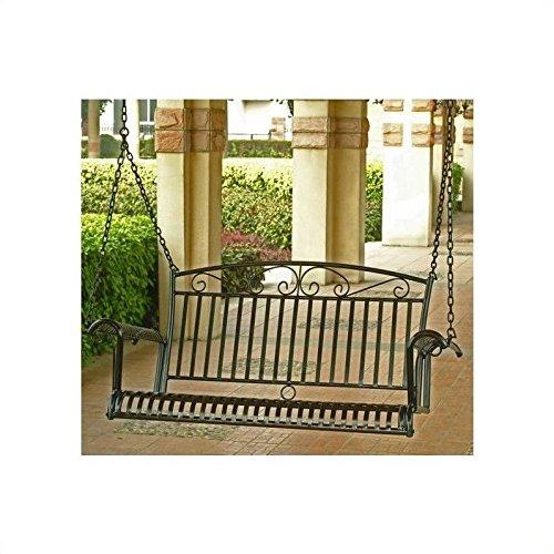 International Caravan Tropico Iron Porch Swing In Antique Black
