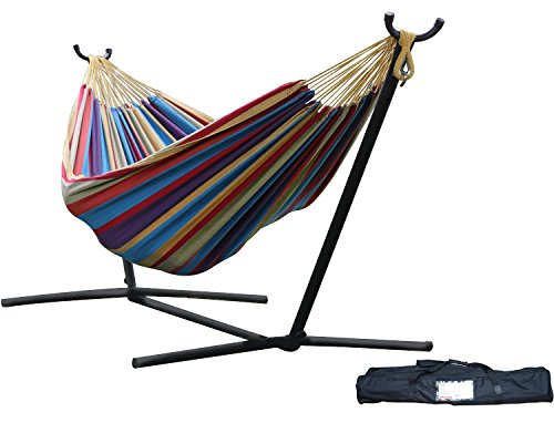 Brazilian Style Double 100 Cotton Hammock With 9 Feet Space-saving Steel Stand And Bonus Free Carrying Case