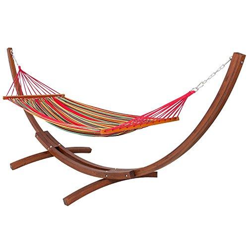 Yopih Wooden Curved Arc Hammock Stand with Cotton Hammock Outdoor Garden Patio