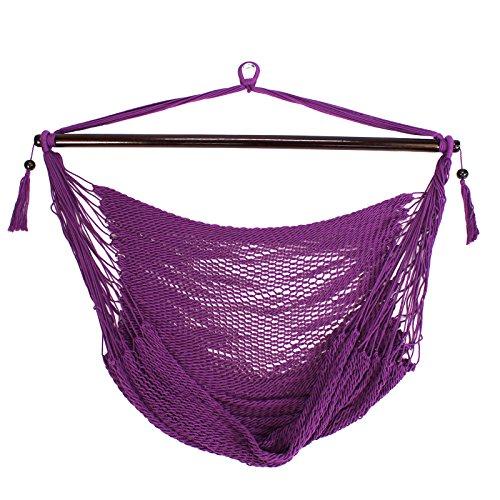 Prime Garden Super Soft Hand Woven Caribbean Style Rope Hammock Chair Purple