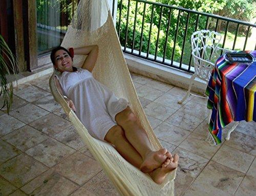 Sunnydaze Portable Hand-woven 1 Person Mayan Hammock Single Size Natural 330 Pound Capacity