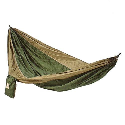 Hammaka Parachute Nylon Portable Double Hammock Army Green  Brown