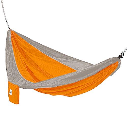 Kings Pond Enterprises 10204-KP Hammaka Parachute Silk Lightweight Portable Double Hammock - Orange Grey
