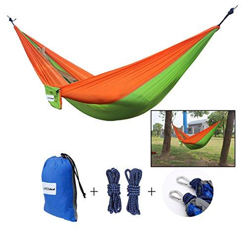 HQdeal Portable 2 Person Parachute Nylon Fabric Camping Hammock SingleDouble Hammock Swing 445lbs for OutdoorBackyardHikingBeachTravel