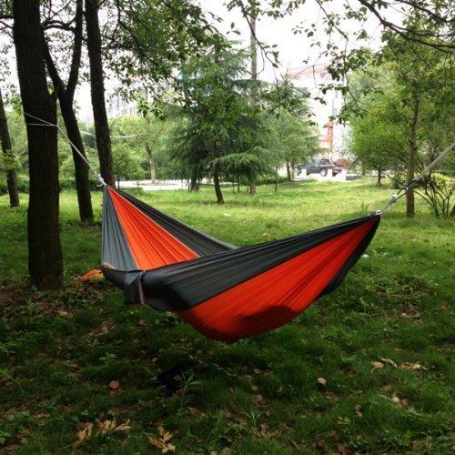 Portable Camping Outdoor Backyard Travel Hammock Nylon Fabric Grey Orange