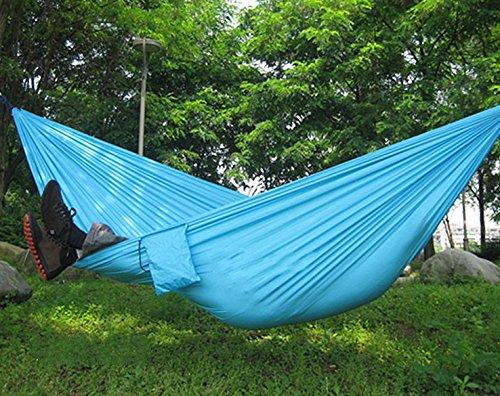 Portable Camping Outdoor Backyard Travel Hammock Nylon Fabric Light Blue