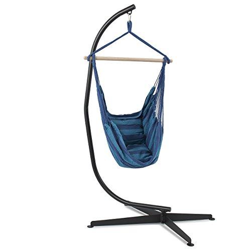 Belleze Hammock  C Frame Stand Indooroutdoor Backyard Steel Air Porch Swing Hanging Chair