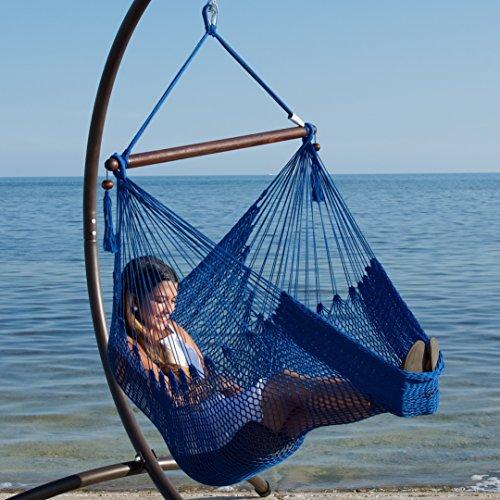Caribbean Hammock Chair With Footrest - 40 Inch - Soft-spun Polyester - dark Blue