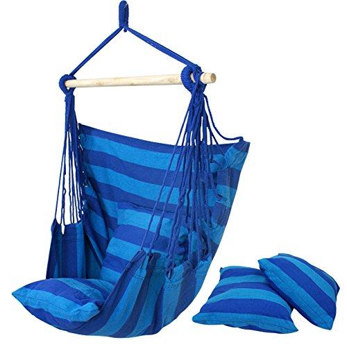 F2c&reg Cotton Hammock Hanging Rope Chair Porch Sky Swing Patio Chair blue Stripe