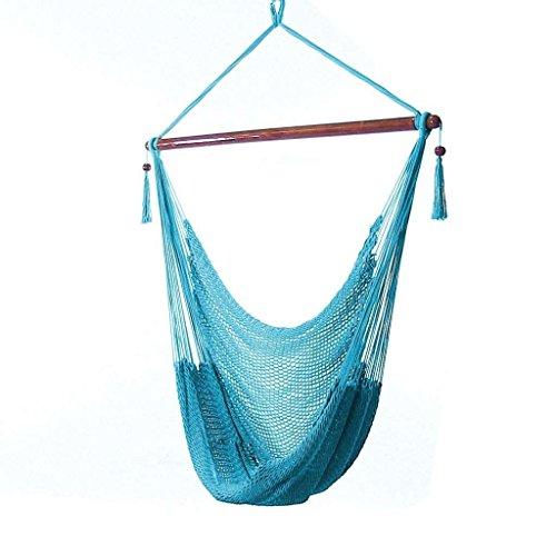 Sunnydaze Hanging Caribbean Xl Hammock Chair Sky Blue 40 Inch Wide Seat