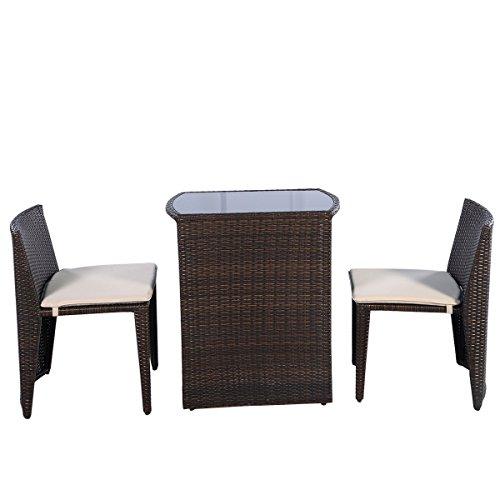 Giantex 3 Pcs Cushioned Outdoor Wicker Patio Set Garden Lawn Sofa Furniture Seat Brown