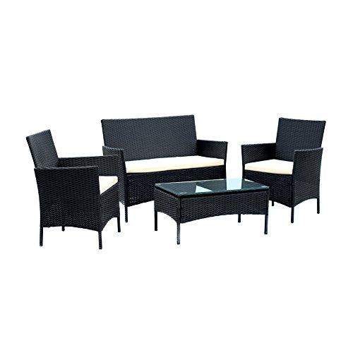Patio Dinng Set Compact 4pcs White Cushion OutdoorIndoor Balcony Garden Lawn Furniture PE Rattan Wicker Sofa Set Black