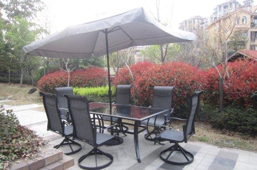 9pc Cast Aluminum Patio Furniture Set with Umbrella and Cover