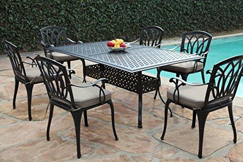 CBM Outdoor Cast Aluminum Patio Furniture 7 Pc Dining Set E1 CBM1290