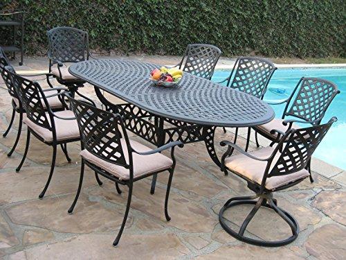Cast Aluminum Outdoor Patio Furniture 9 Piece Expandable Dining Set Ds-09klss260180t 2 Swivel Rockers 6 Armchairs