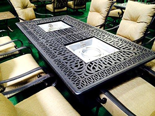 Cast Aluminum Patio Furniture Elisabeth 9 Piece Patio Dining Set Double Brunner Propane Table