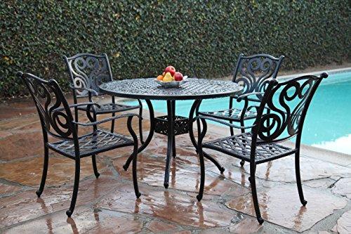 Grand Patio Furniture Outdoor Cast Aluminum 5 Piece Outdoor Dining Set Pr-2