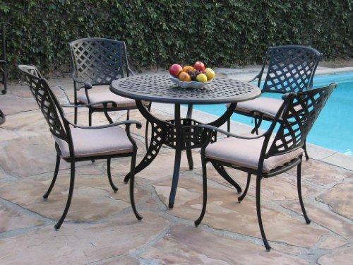 Kawaii Collection Cast Aluminum Outdoor Patio Furniture 5 Piece Dining Set Mlv110t Cbm1290