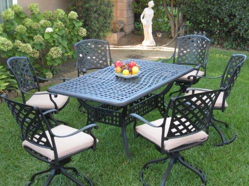 Outdoor Cast Aluminum Patio Furniture 7 Piece Dining Set ML15590T with 6 Swivel Rockers CBM1290
